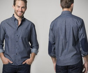Untuckit Blue Chambray w/ Elbow Pads