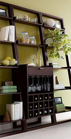 Sloane Leaning Wine Bar And Bookcase Set Gearculture
