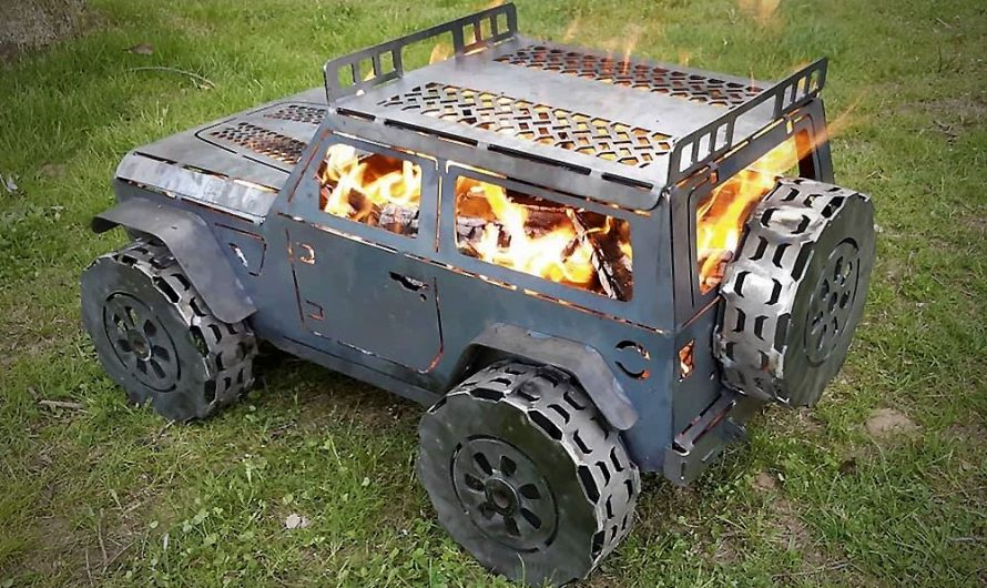 Jeep Wrangler Outdoor Rolling Steel Chimenea Fireplace